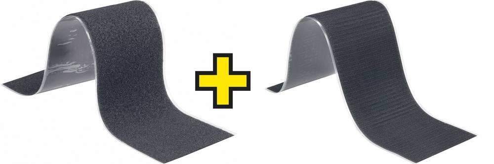 Samoljepljiva traka s čičkom Fastech prianjajući i mekani dio (D x Š) 500 cm x 5 cm crna 1 par