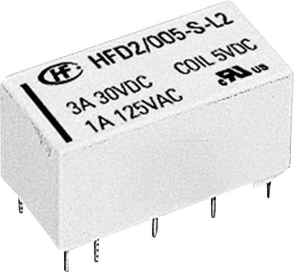 Printrelæ 5 V/DC 3 A 2 x omskifter Hongfa HFD2/005-S-D 1 stk