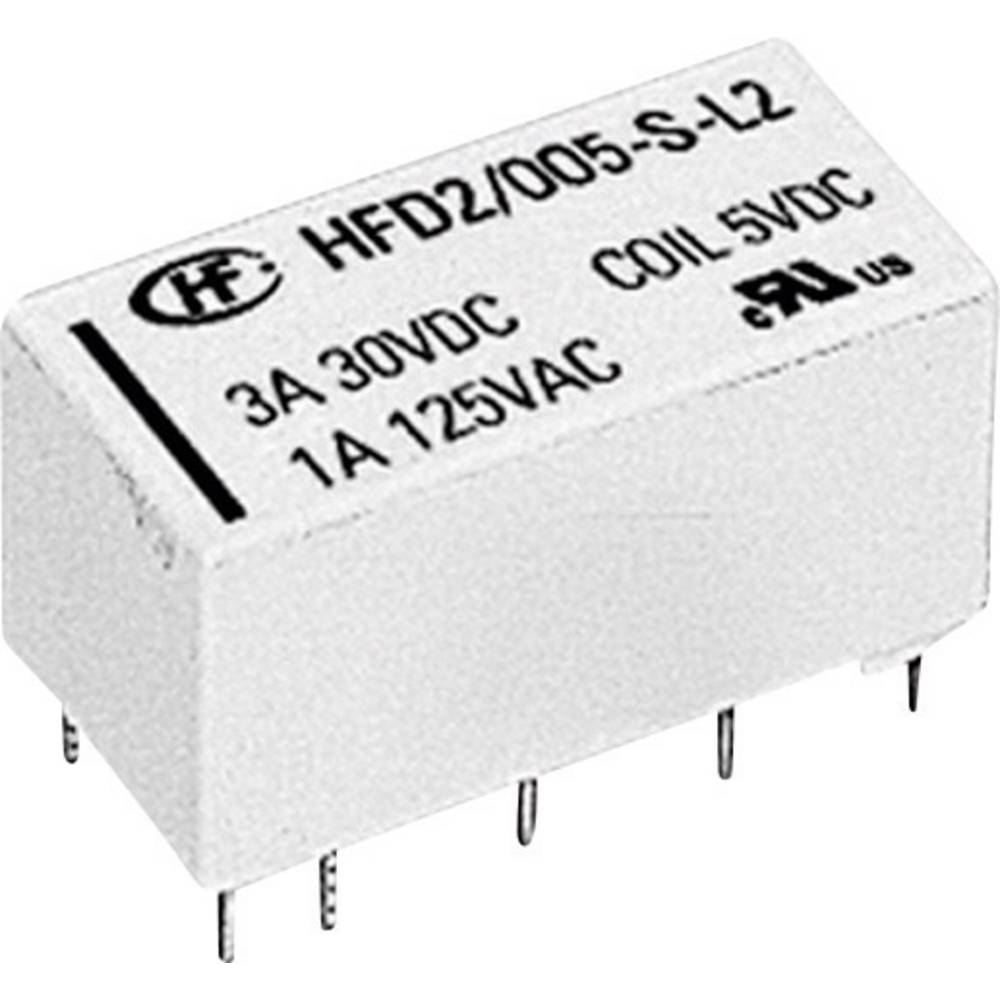 Miniaturni rele HFD2 HFD2/012-S-L2-D 12 V/DC 2 preklopni maks.. 3 A maks. 220 V/DC/ 250 V/AC maks. 125 VA/ 90 W