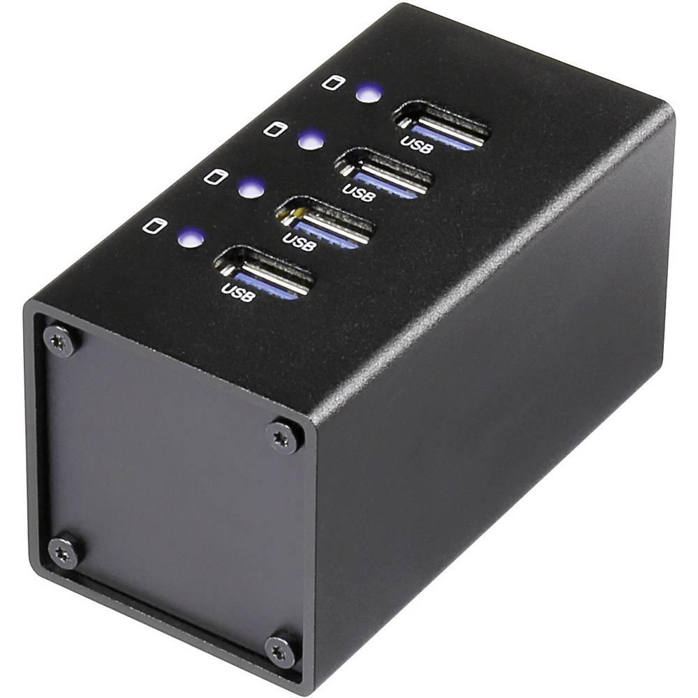 4-portni USB 3.0 hub Conrad s aluminijskim kućištem crni