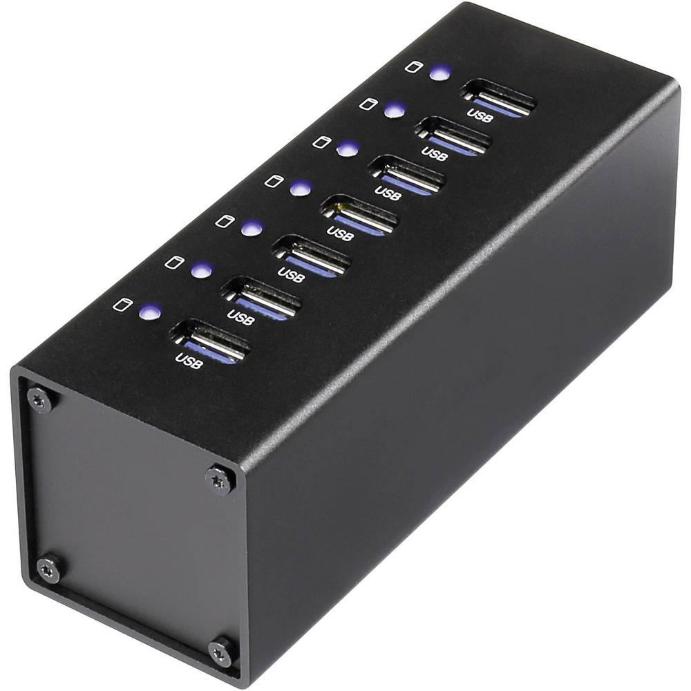 7-portni USB 3.0 hub Conrad s aluminijskim kućištem crni