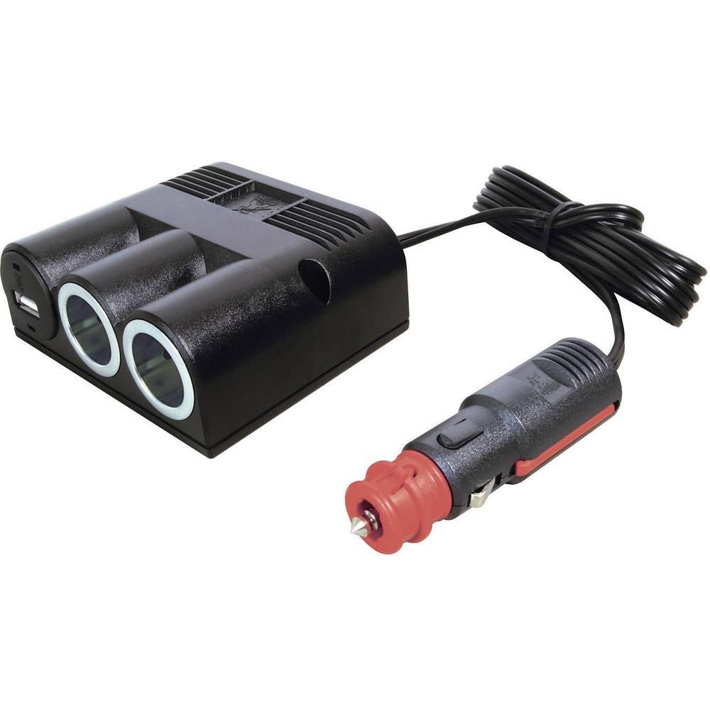 Fordeler Påbygning ProCar 3fach Verteiler mit USB 12 V 16 A Cigarettænder-stik