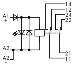 Industrirelæ 1 stk WAGO 789-312 Nominel spænding: 24 V/DC Brydestrøm (max.): 8 A 2 x omskifter