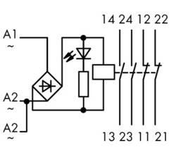 Industrirelæ 1 stk WAGO 789-536 Nominel spænding: 24 V/DC, 24 V/AC Brydestrøm (max.): 4 A 2 x sluttekontakt, 2 x brydekontakt