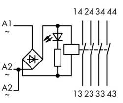 Industrirelæ 1 stk WAGO 789-552 Nominel spænding: 12 V/DC, 12 V/AC Brydestrøm (max.): 4 A 4 x sluttekontakt
