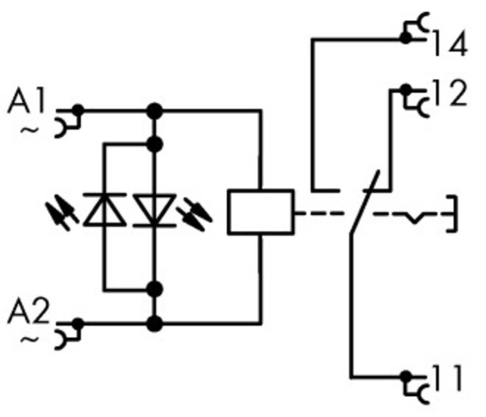 Industrirelæ 1 stk WAGO 789-1544 Nominel spænding: 230 V/AC Brydestrøm (max.): 12 A 1 x skiftekontakt