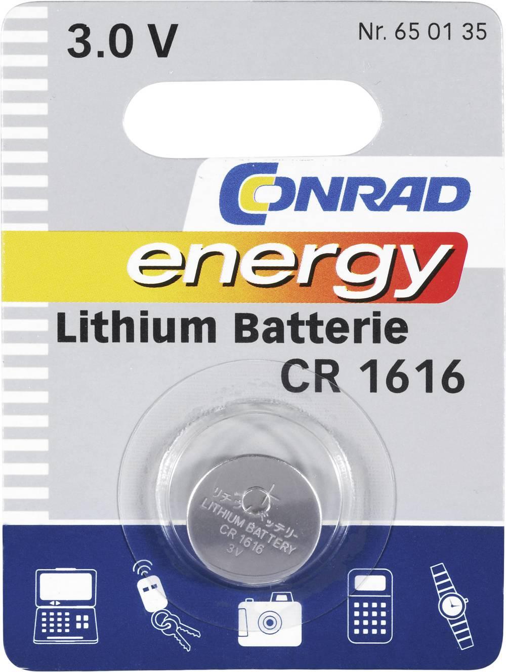 Gumbna baterija CR 1616 litijeva Conrad energy CR1616 45 mAh 3 V, 1 kos