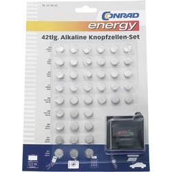 Conrad energy Knapcelle-sæt 6 x AG1, 12 x AG3, 6 x AG4, 9 x AG10, 3 x AG12, 6 x AG13 · Batteritester
