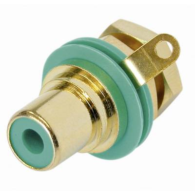 Image of Rean AV NYS367-5-CON RCA connector Socket, vertical vertical Number of pins: 2 Green 1 pc(s)