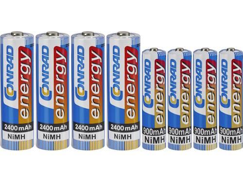 Conrad energy Oplaadbare batterijenset AAA, AA 8 stuks