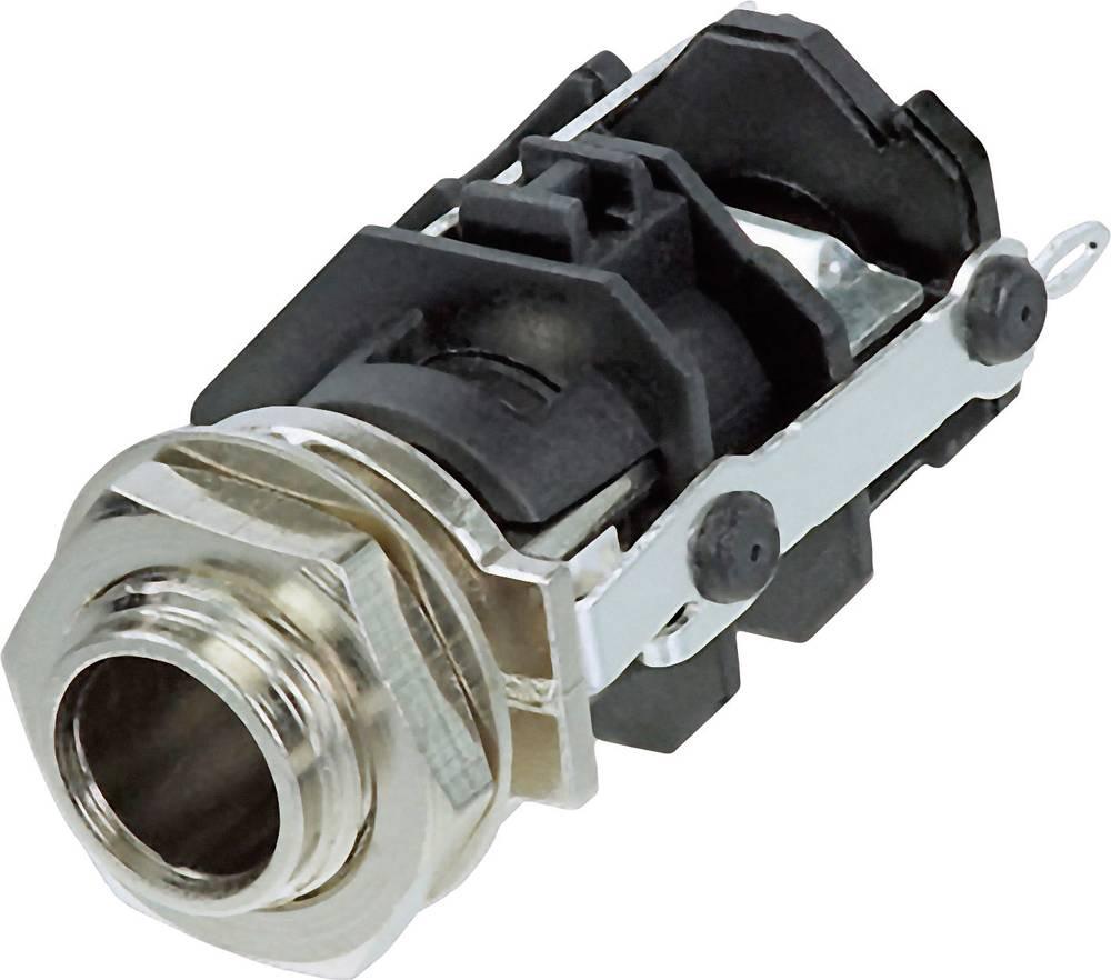 Klinken-vtični konektor, 6.35 mm vtičnica, vgraden vertikalen število polov: 3 Stereo črne barve Rean AV RJ3VM 1 kos