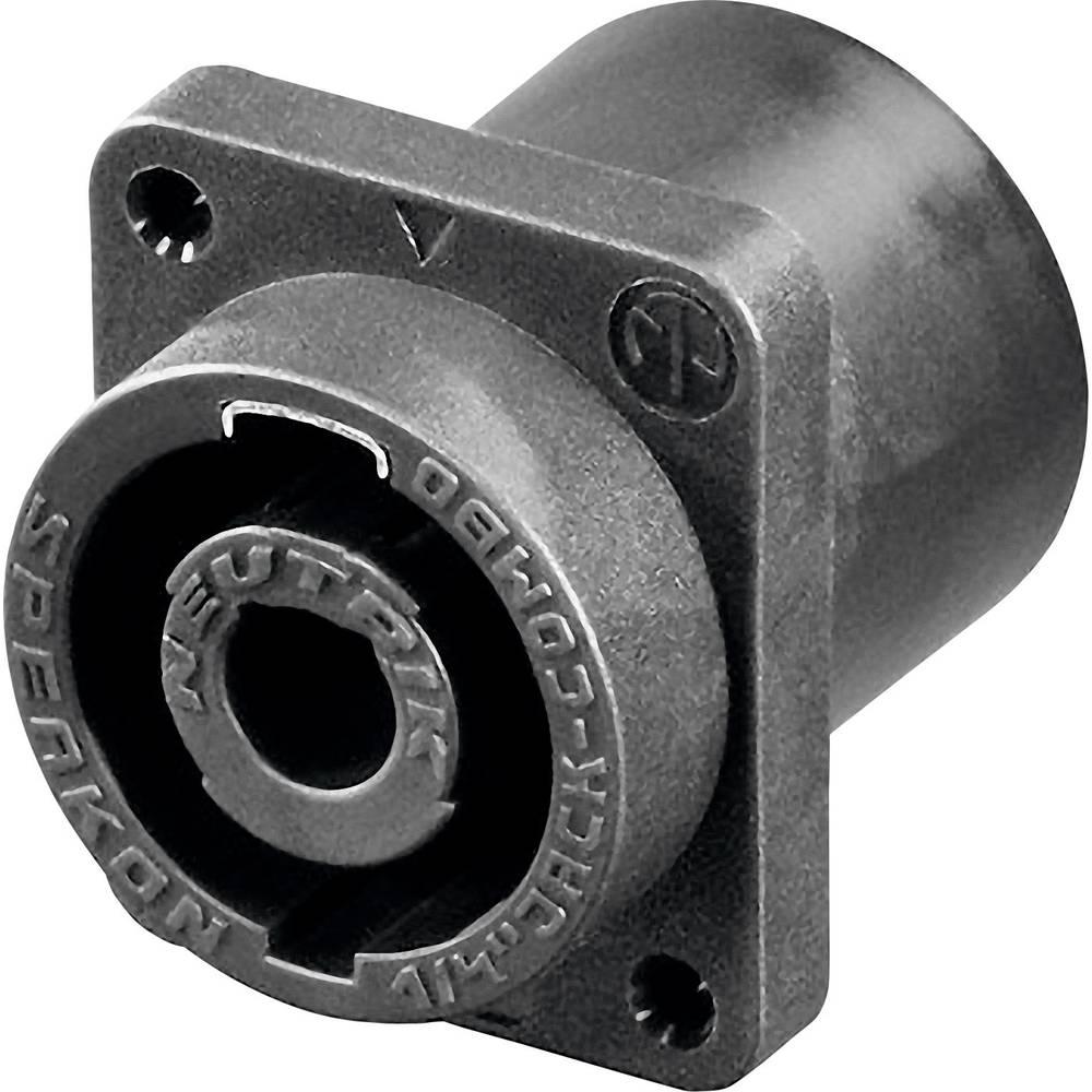Vtični konektor za zvočnik prek prirobne vtičnice, ravni kontakti, število polov: 2 črne barve Neutrik NLJ2MD-V 1 kos