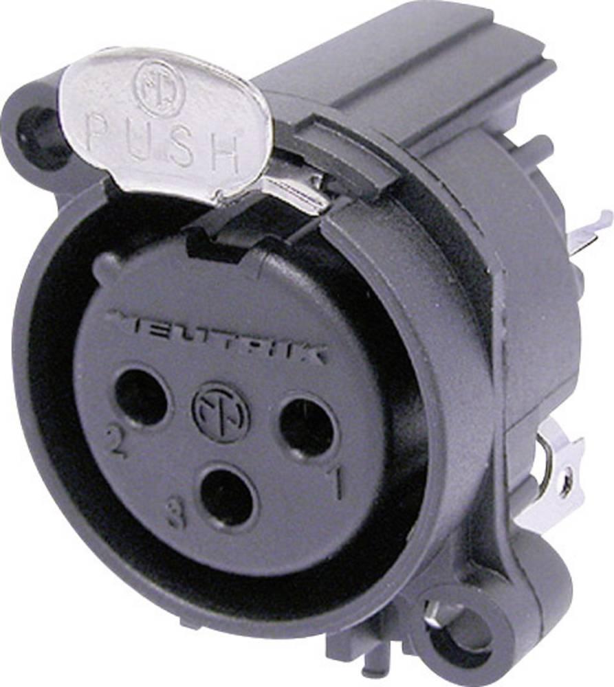 XLR-vtični konektor za prirobno vtičnico, ravni kontakti, število polov: 3 črne barve Neutrik NC3FAAV1 1 kos