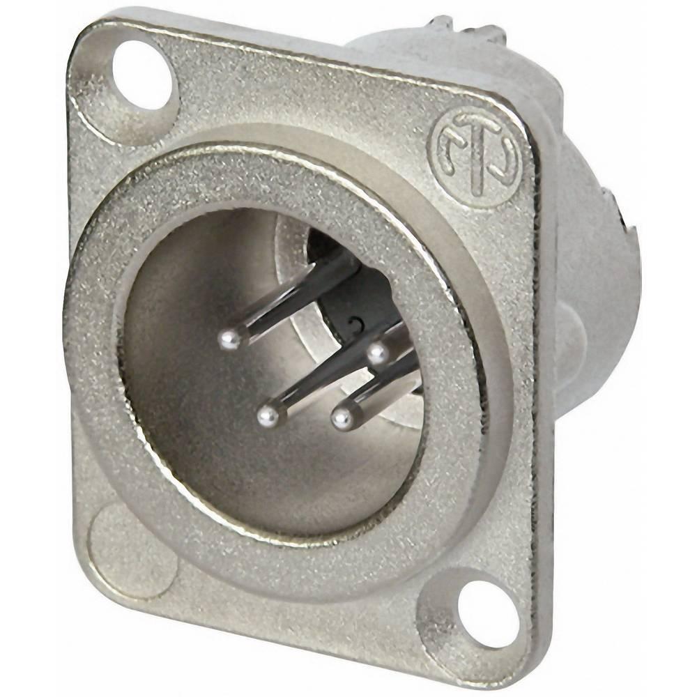 XLR-vtični konektor, prirobni vtič, ravni kontakti, število polov: 4 srebrne barve Neutrik NC4MD-LX 1 kos
