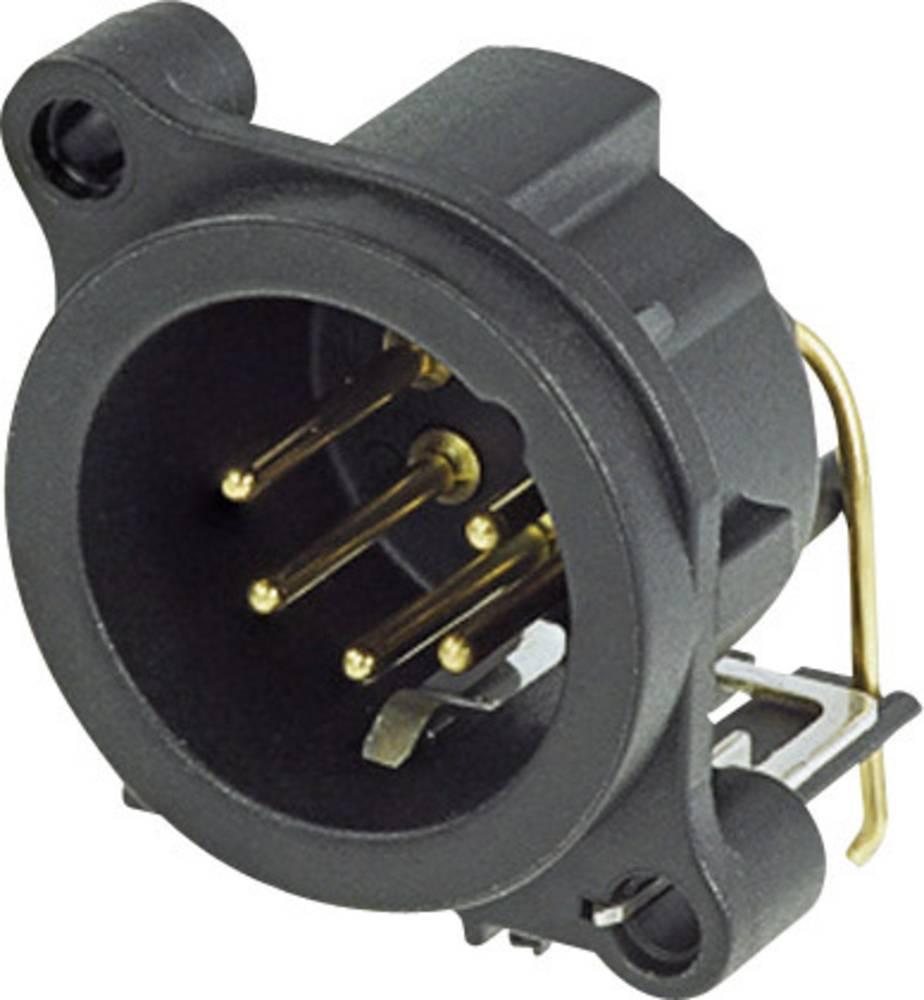 XLR-vtični konektor, prirobni vtič, kotni kontaktii število polov: 5 črne barve Neutrik NC5MAH 1 kos