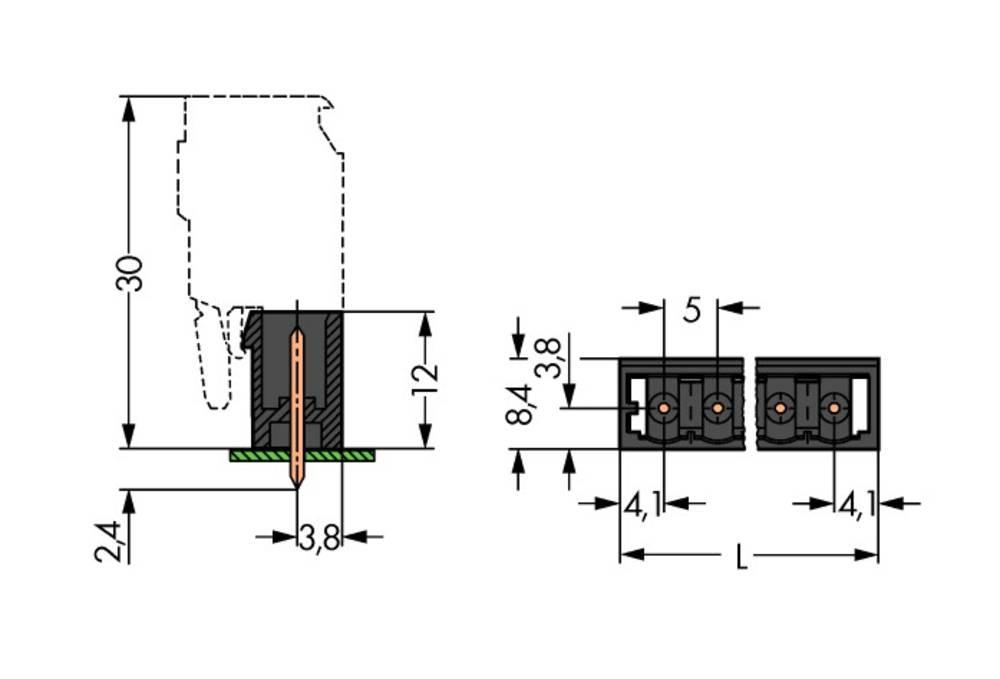 Stiftkabinet-kabel 733 WAGO 733-135 200 stk