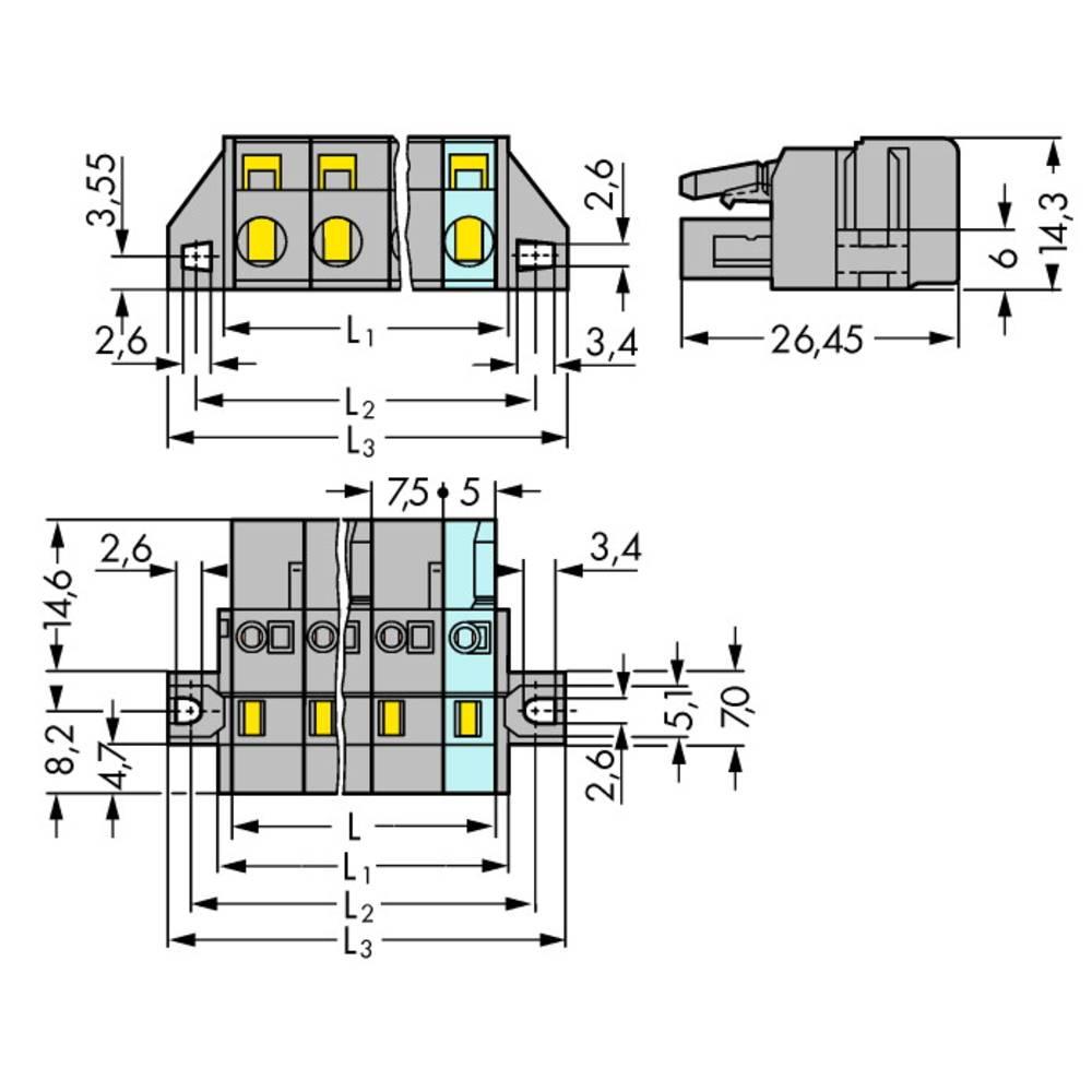 Tilslutningskabinet-kabel 231 Samlet antal poler 12 WAGO 231-212/031-000 Rastermål: 7.50 mm 10 stk