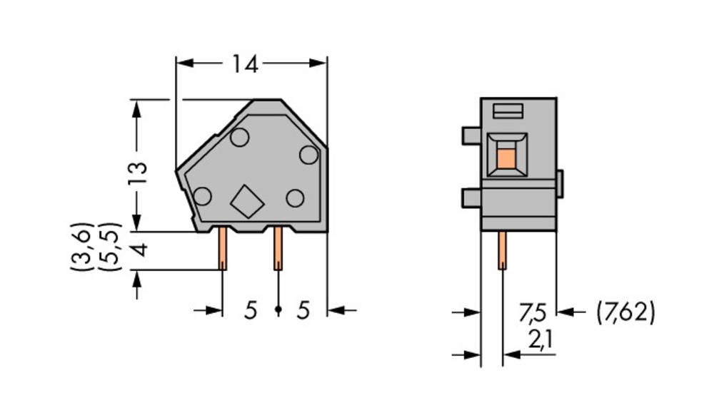 Fjederkraftsklemmeblok WAGO 2.50 mm² Poltal 1 Grå 400 stk