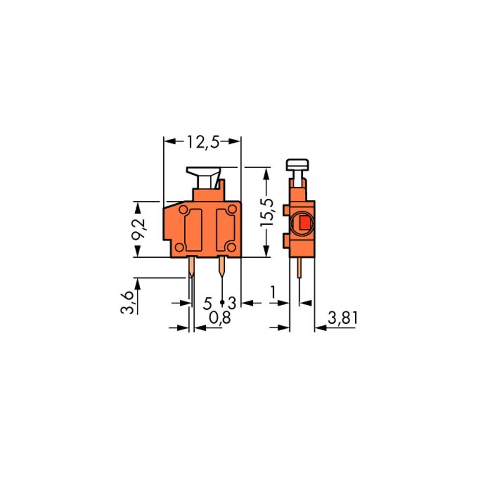 Fjederkraftsklemmeblok WAGO 1.50 mm² Poltal 1 Lysegrøn 800 stk