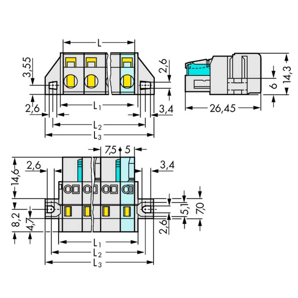 Multistikfatning 721-203/031-000 Samlet poltal 3 Antal rækker 1 WAGO 50 stk