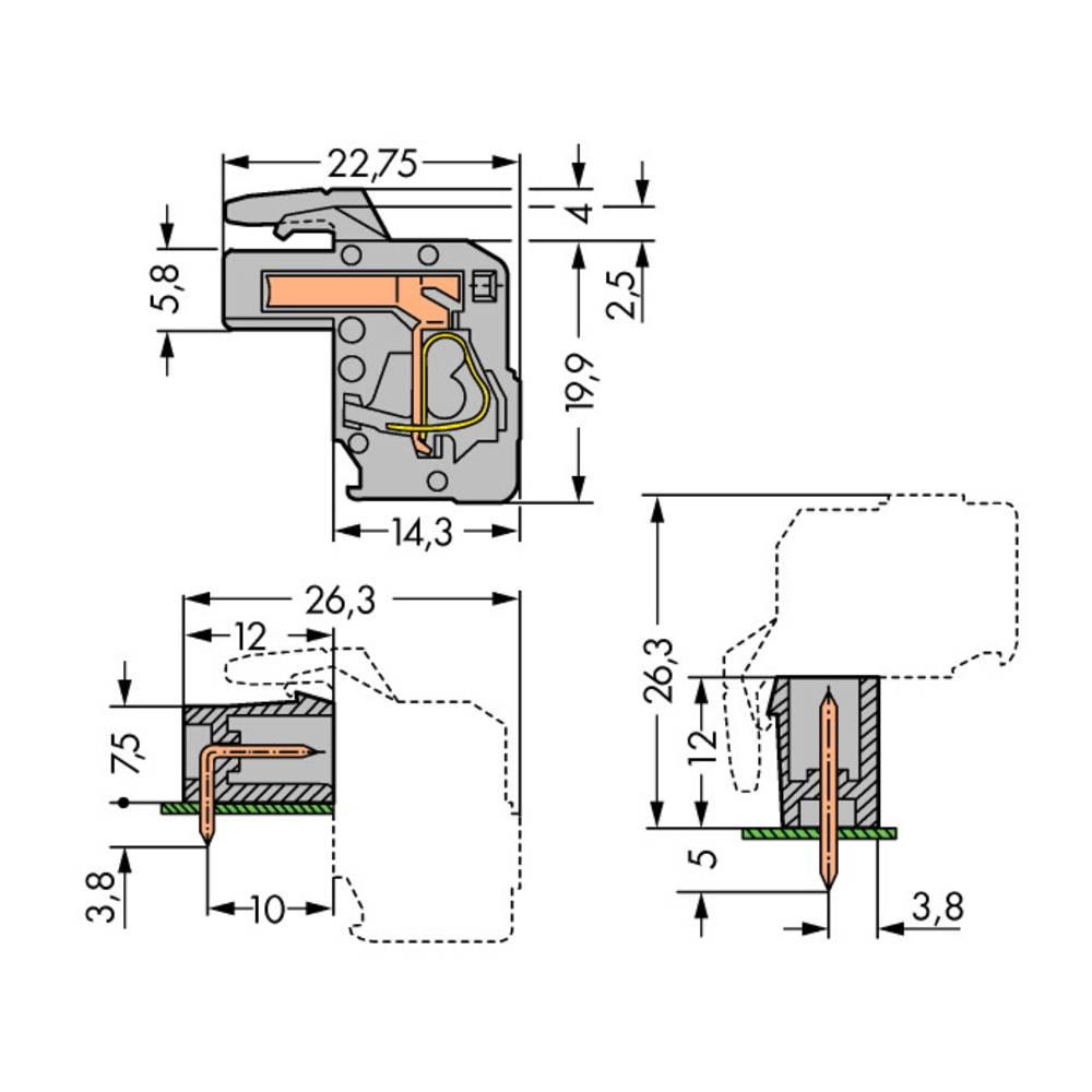 Tilslutningskabinet-printplade 732 Samlet antal poler 8 WAGO 732-108/026-000 Rastermål: 7.50 mm 25 stk