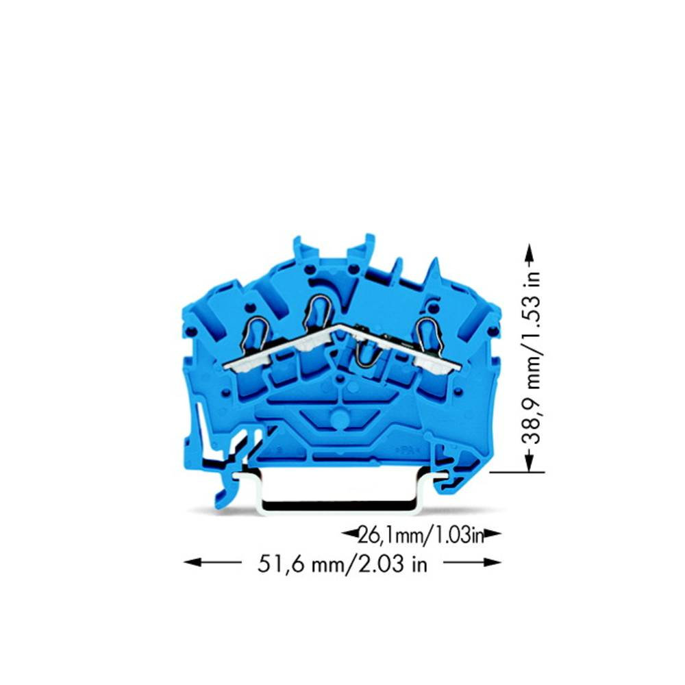 Gennemgangsklemme 5.20 mm Trækfjeder Belægning: N Blå WAGO 2002-6304 100 stk