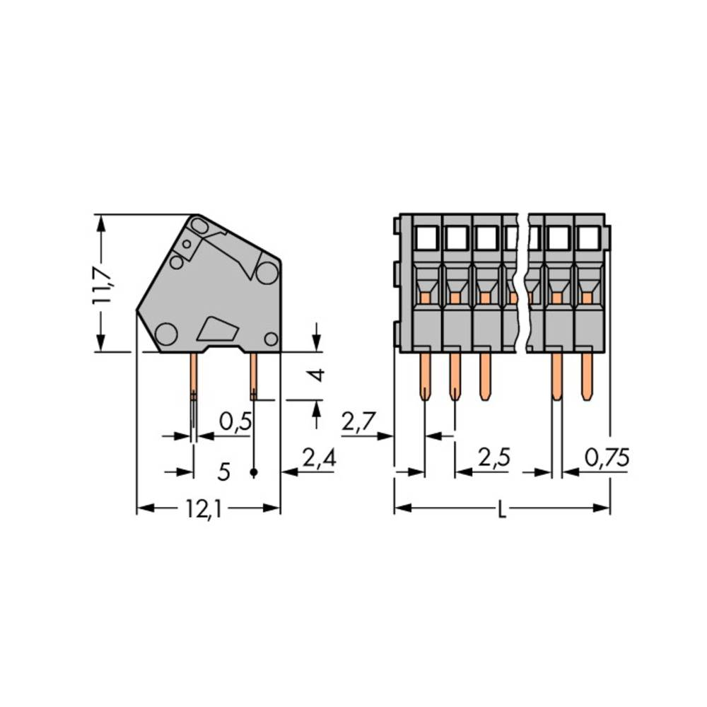 Fjederkraftsklemmeblok WAGO 0.50 mm² Poltal 10 Grå 180 stk