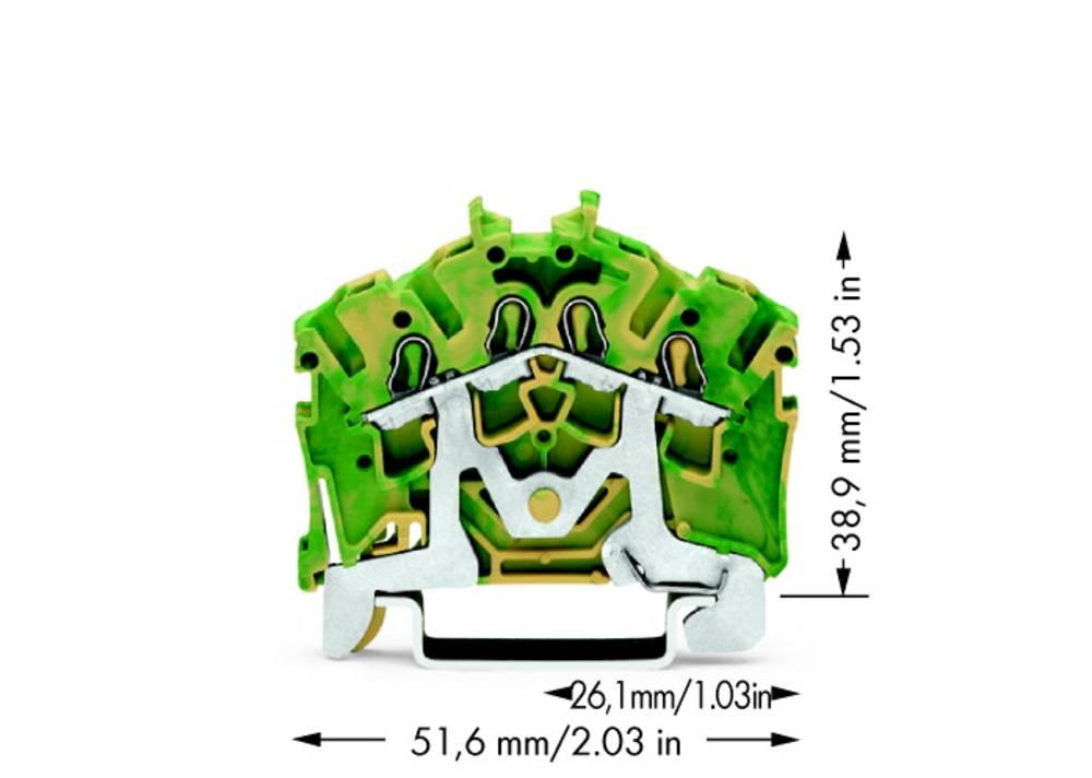 Jordklemme 5.20 mm Trækfjeder Belægning: Terre Grøn-gul WAGO 2002-6407 100 stk