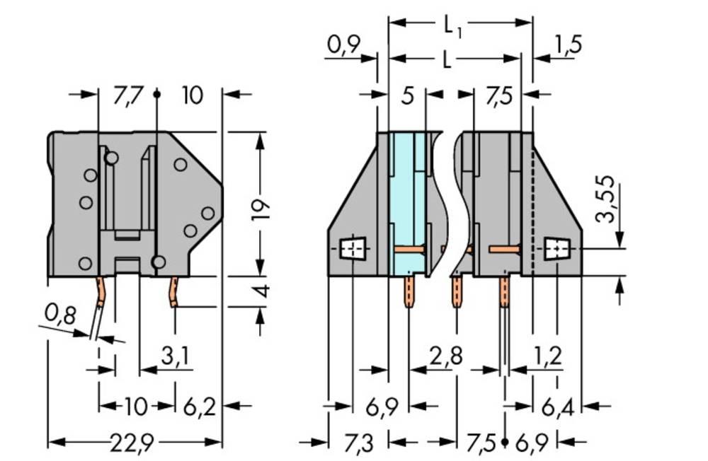 Fjederkraftsklemmeblok WAGO 4.00 mm² Poltal 4 Grå 90 stk