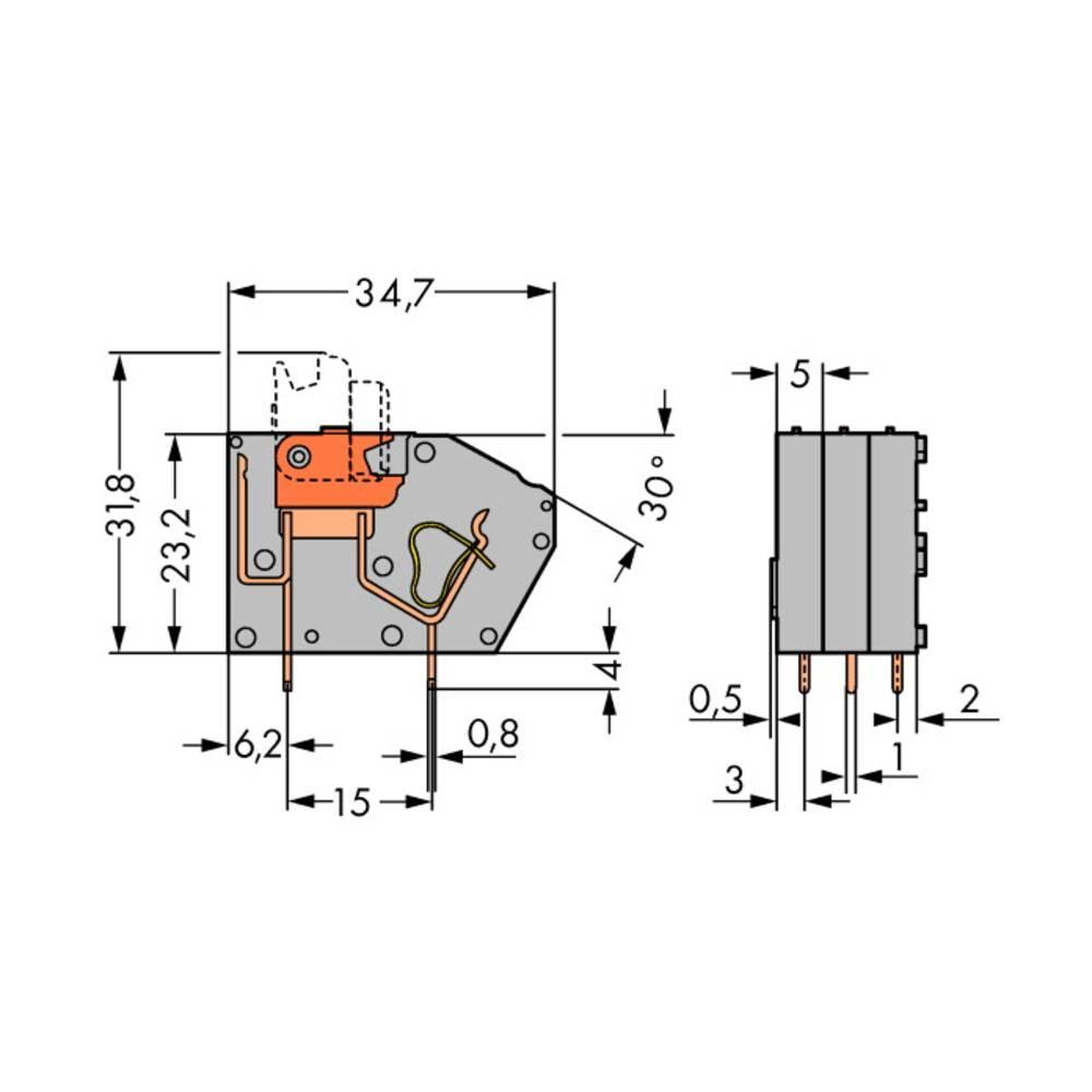 Fjederkraftsklemmeblok WAGO 2.50 mm² Poltal 1 Grå 384 stk