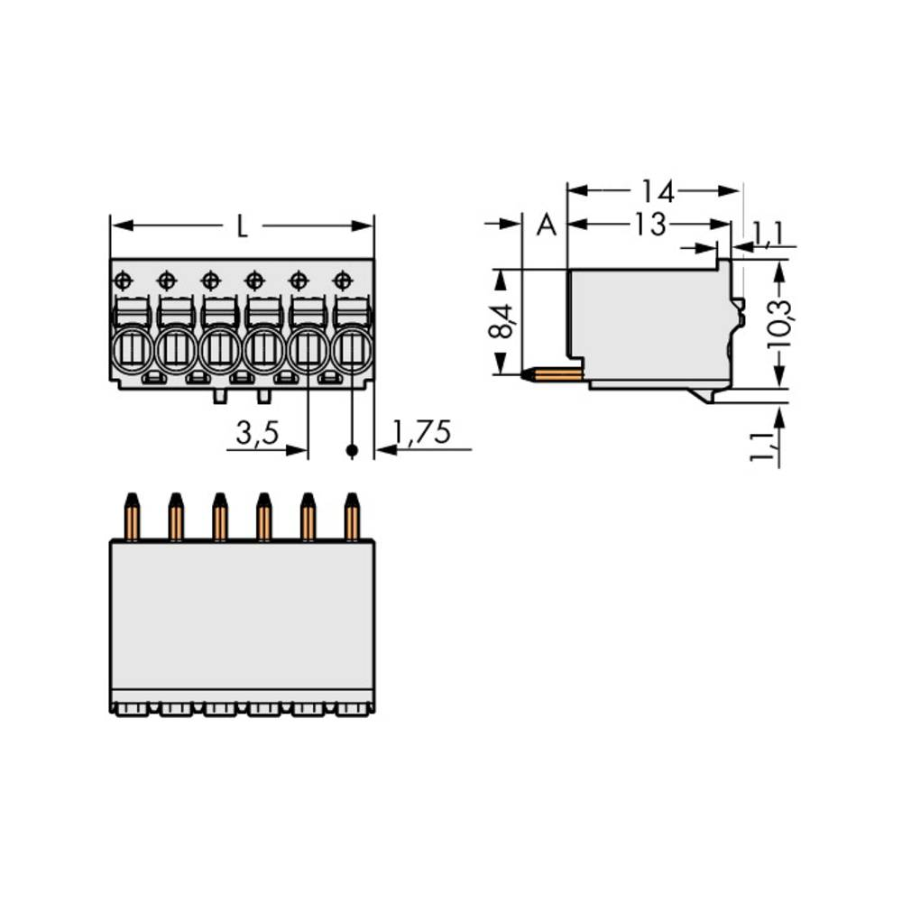 Stiftkabinet-printplade 2091 Samlet antal poler 10 WAGO 2091-1160 Rastermål: 3.50 mm 50 stk