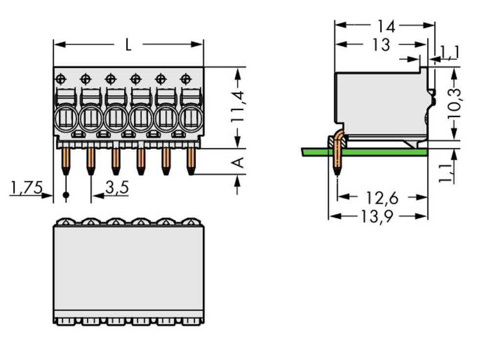 Stiftkabinet-printplade 2091 Samlet antal poler 10 WAGO 2091-1360 Rastermål: 3.50 mm 50 stk