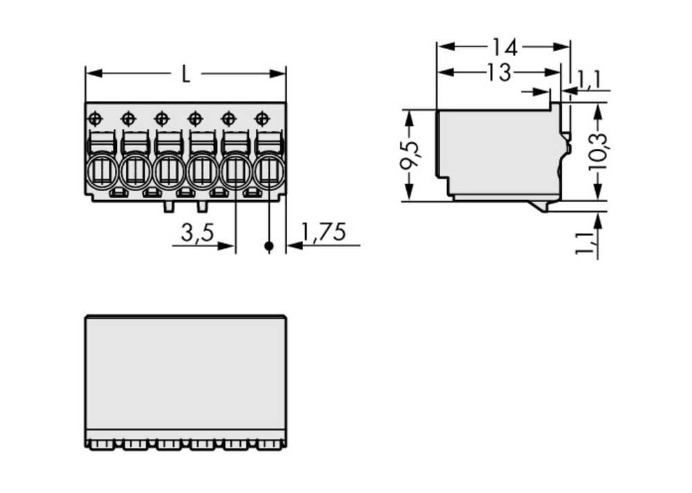 Stiftkabinet-printplade 2091 Samlet antal poler 5 WAGO 2091-1125 Rastermål: 3.50 mm 200 stk