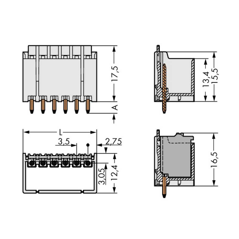 Stiftkabinet-printplade 2091 Samlet antal poler 5 WAGO 2091-1405/200-000 Rastermål: 3.50 mm 200 stk