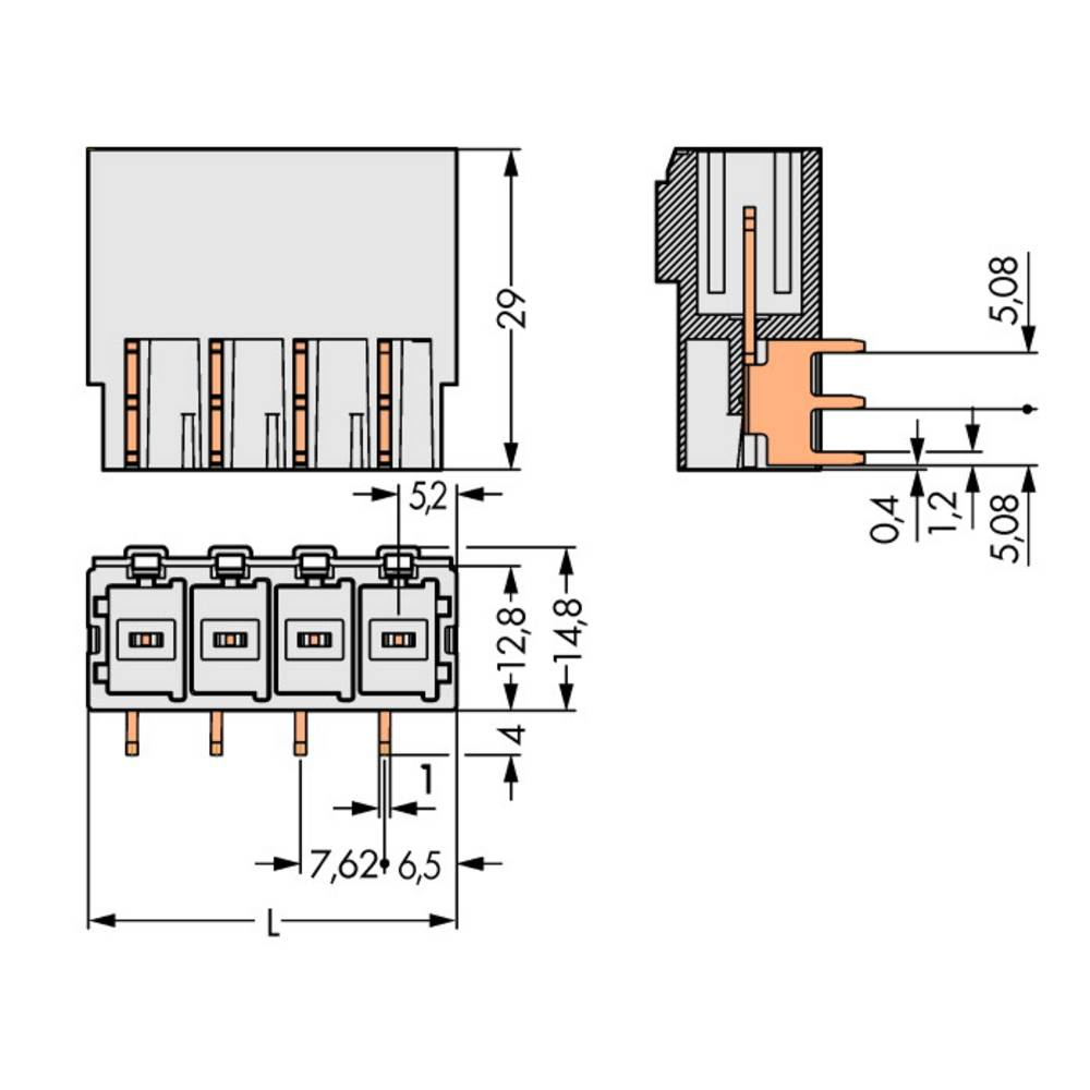 Stiftkabinet-printplade 831 Samlet antal poler 4 WAGO 831-3624 Rastermål: 7.62 mm 24 stk