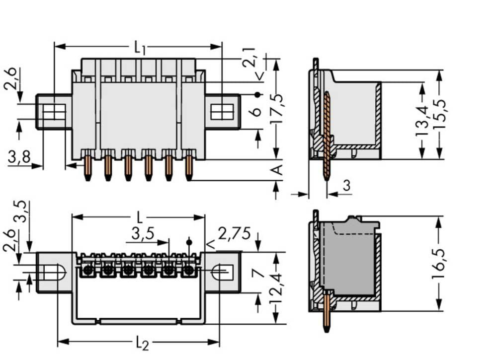 Stiftkabinet-printplade 2091 Samlet antal poler 6 WAGO 2091-1406/005-000 Rastermål: 3.50 mm 100 stk