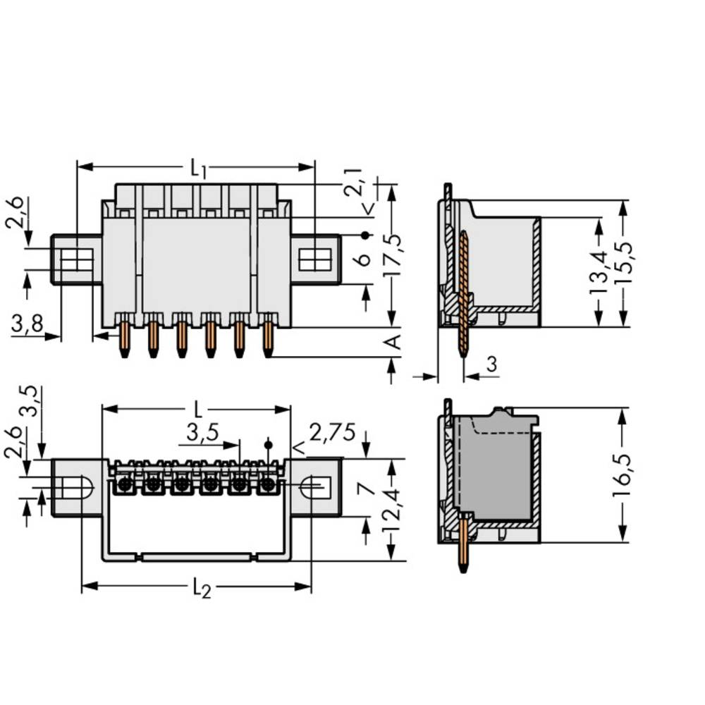 Stiftkabinet-printplade 2091 Samlet antal poler 5 WAGO 2091-1405/205-000 Rastermål: 3.50 mm 200 stk
