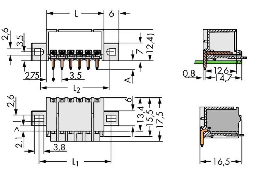Stiftkabinet-printplade 2091 Samlet antal poler 2 WAGO 2091-1422/205-000 Rastermål: 3.50 mm 200 stk