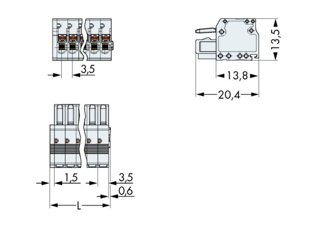 Tilslutningskabinet-kabel 2734 Samlet antal poler 6 WAGO 2734-106/033-000 Rastermål: 3.50 mm 50 stk