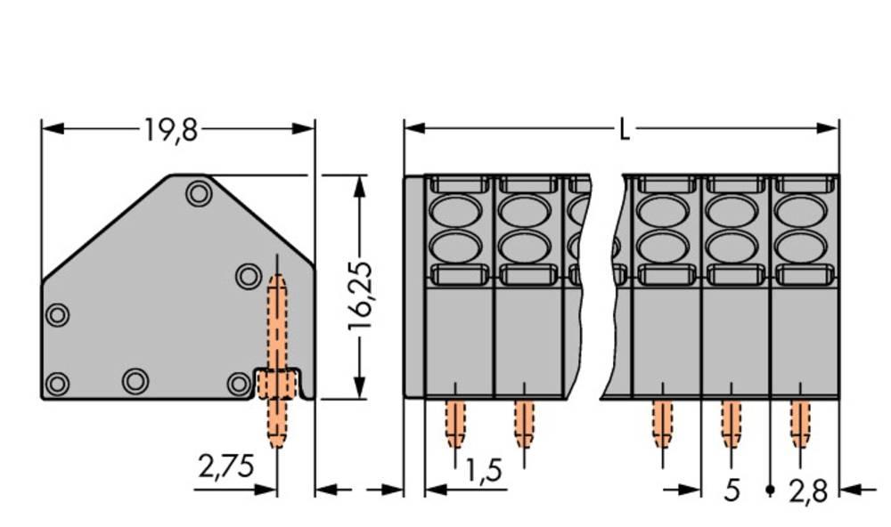 Fjederkraftsklemmeblok WAGO 1.50 mm² Poltal 10 Grå 80 stk
