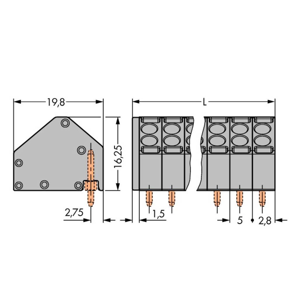 Fjederkraftsklemmeblok WAGO 1.50 mm² Poltal 3 Grå 250 stk