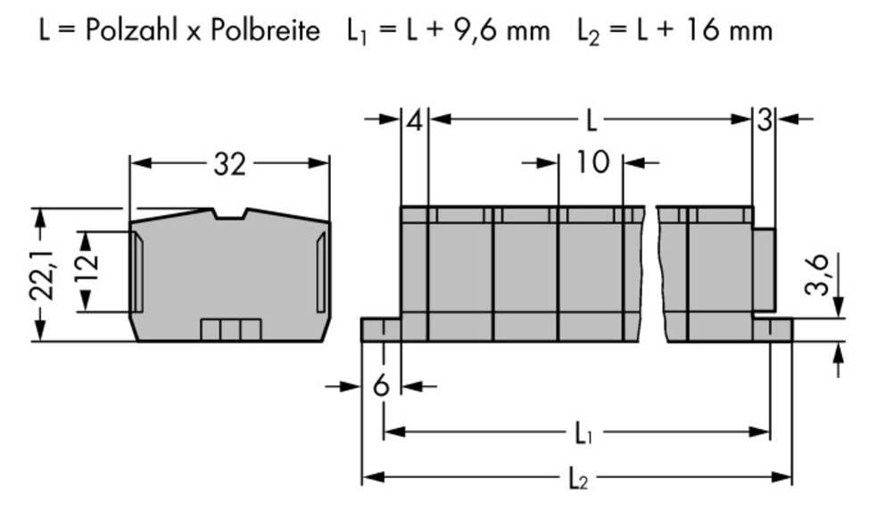 Klemmerække 10 mm Trækfjeder Belægning: L Grå WAGO 264-205 50 stk