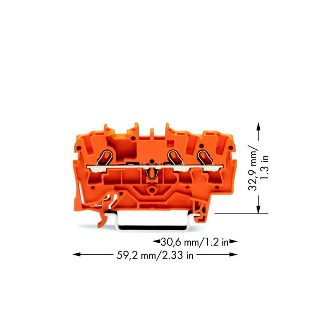Gennemgangsklemme 4.20 mm Trækfjeder Orange WAGO 2001-1302 100 stk