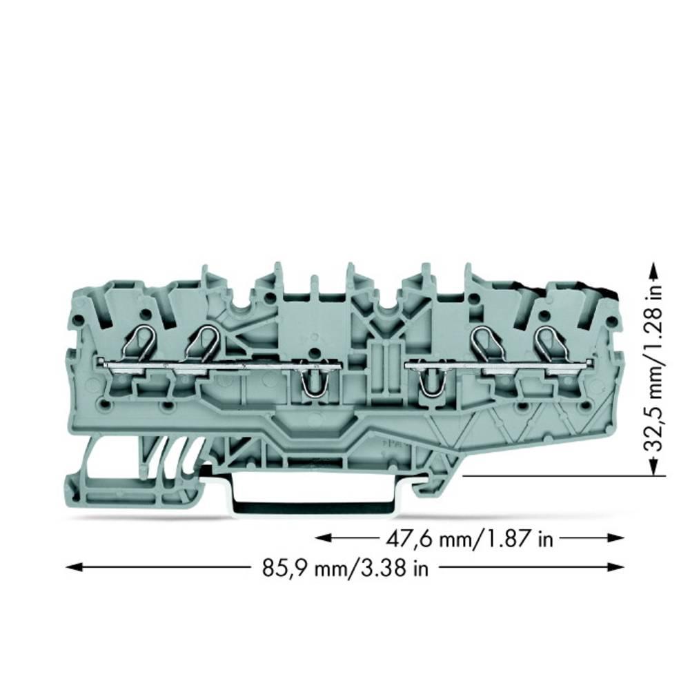 Gennemgangsklemme 3.50 mm Trækfjeder Belægning: L Grå WAGO 2000-2141 50 stk