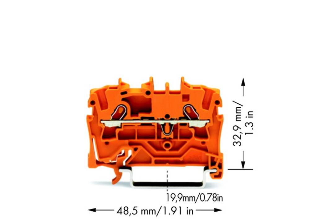 Gennemgangsklemme 4.20 mm Trækfjeder Orange WAGO 2001-1202 100 stk