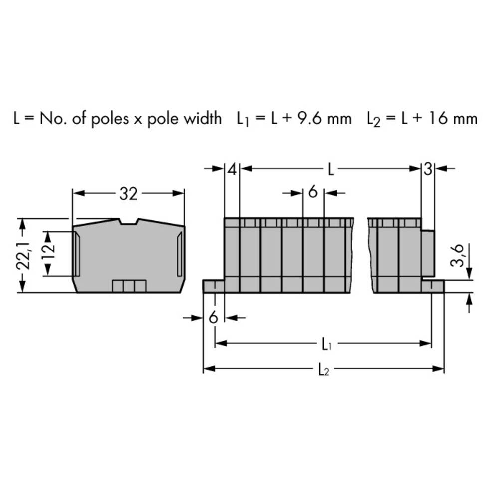 Klemmerække 6 mm Trækfjeder Belægning: L Grå WAGO 264-108 50 stk