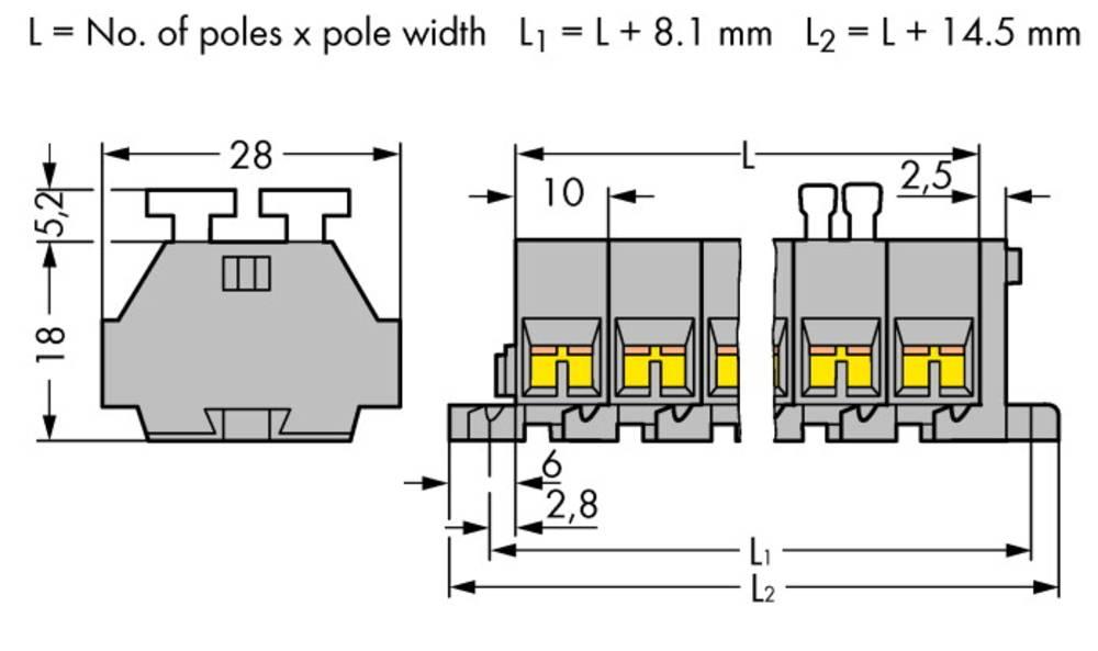 Klemmerække 10 mm Trækfjeder Belægning: L Grå WAGO 261-208/342-000 50 stk