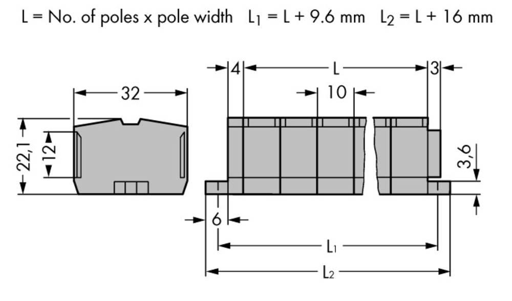 Klemmerække 10 mm Trækfjeder Belægning: L Grå WAGO 264-207 50 stk