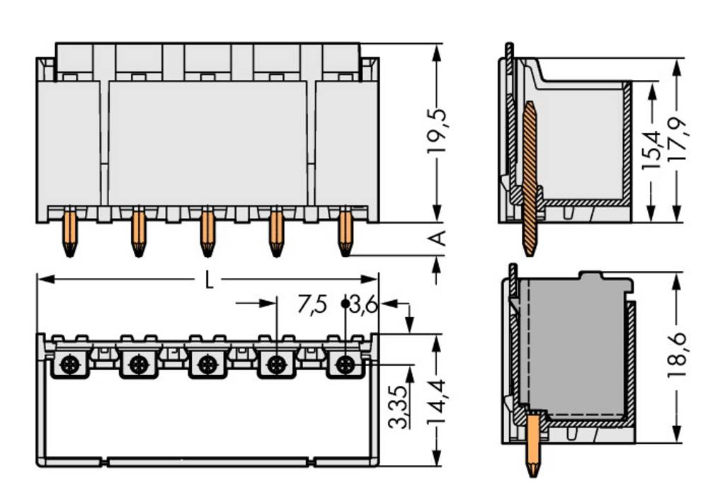 Stiftkabinet-printplade 2092 Samlet antal poler 3 WAGO 2092-3403 Rastermål: 7.50 mm 100 stk