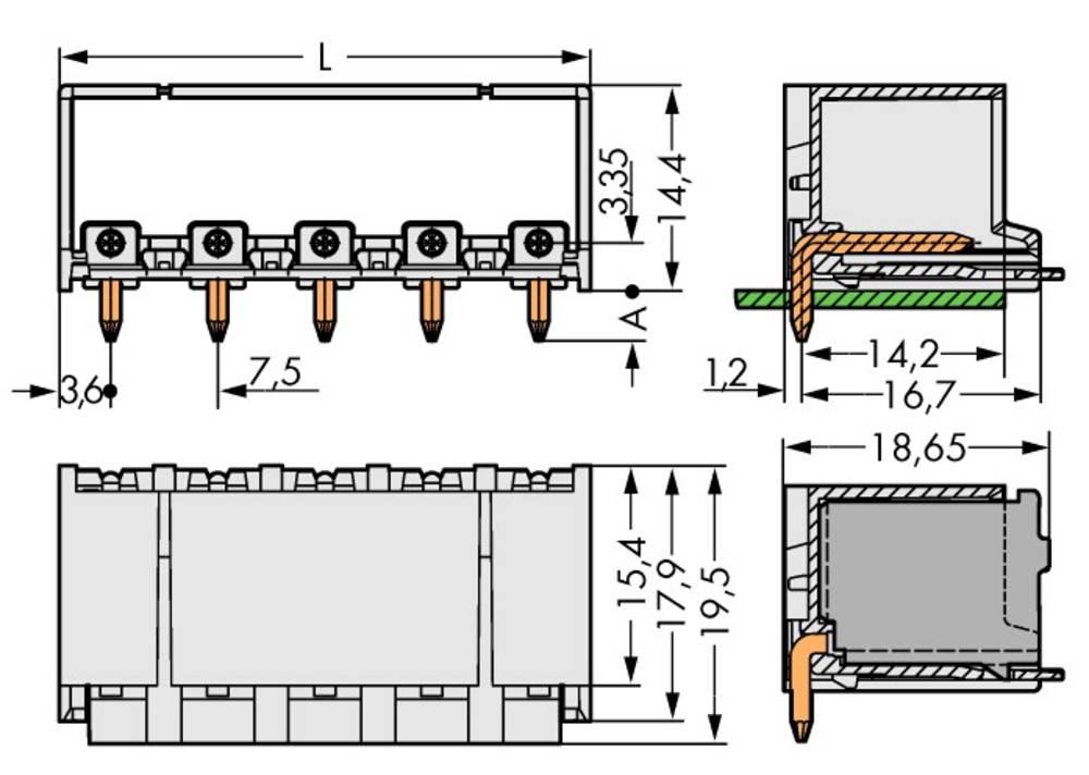 Stiftkabinet-printplade 2092 Samlet antal poler 2 WAGO 2092-3422 Rastermål: 7.50 mm 100 stk